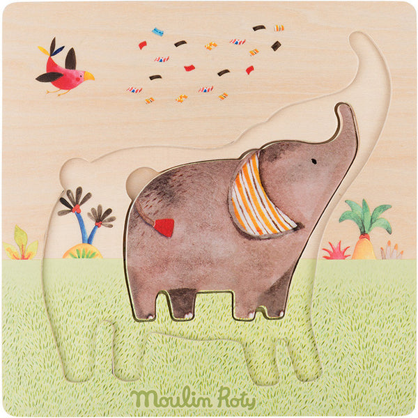 Wooden Elephants Puzzle - Les Papoum by Moulin Roty