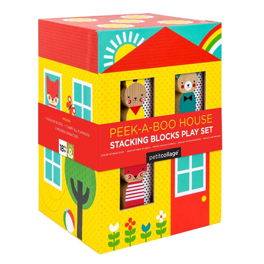 Peek-A-Boo House Stacking Blocks in Box - Petit Collage - Oompa Toys
