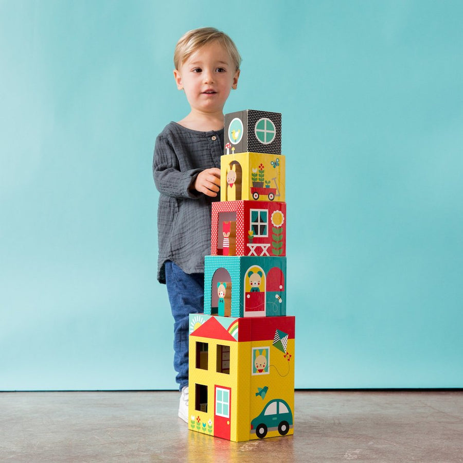 Peek-A-Boo House Stacking Blocks - Stacked with Boy -  Petit Collage - Oompa Toys