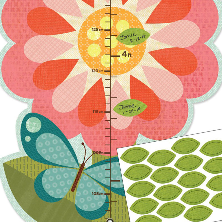 Petit Collage - Garden Flowers Growth Chart with Stickers