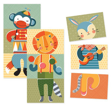 Petit Collage Mix & Match Cards - Puzzle Game - Animal Jamboree