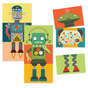 Petit Collage Mix & Match Cards - Puzzle Game - Robot Remix
