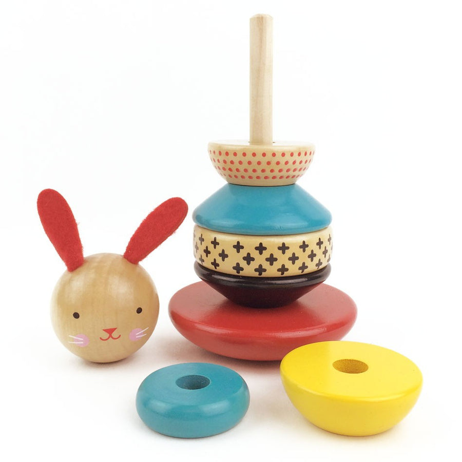 Petit Collage Modern Bunny Wooden Stacking Toy - Pieces
