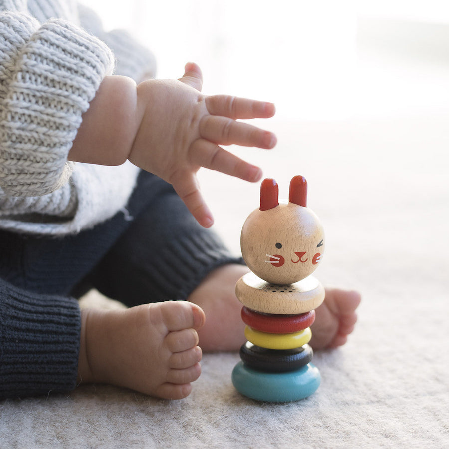 Petit Collage Modern Wooden Baby Rattle Toy
