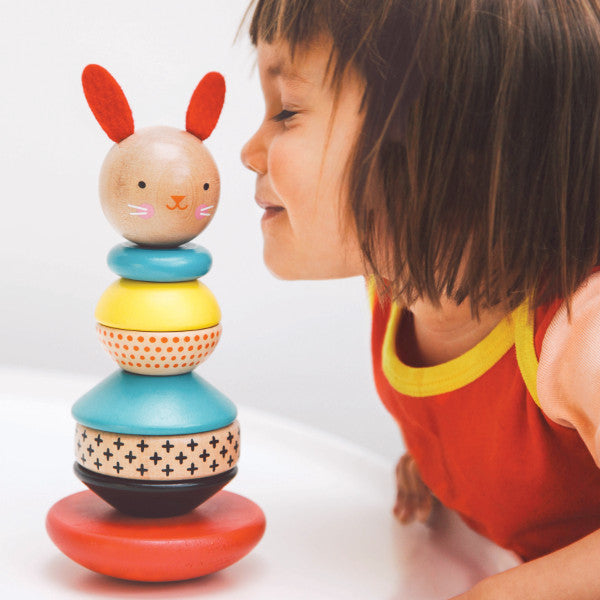 PetitCollage Modern Bunny Wooden Stacking Toy - Lifestyle