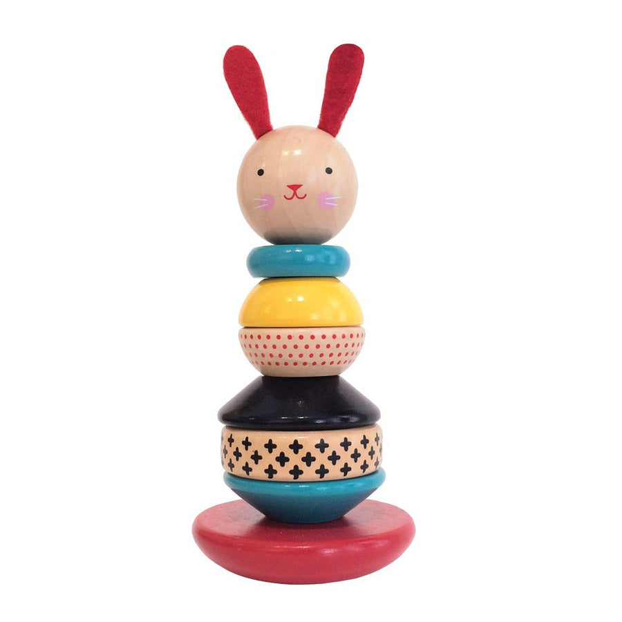 Petit Collage Modern Bunny Wooden Stacking Toy