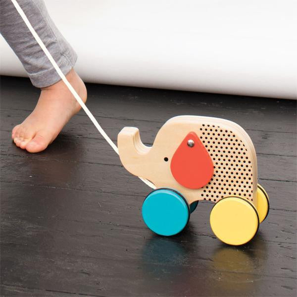 Petit Collage Jumping Jumbo - Wooden Elephant Pull Toy