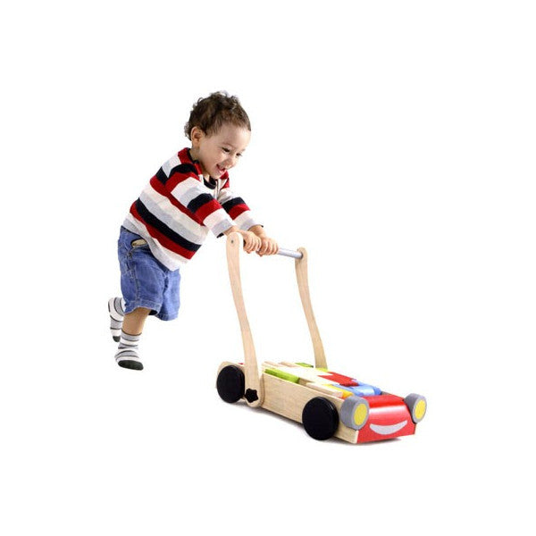 plan toys baby walker wooden toddler push toy blocks