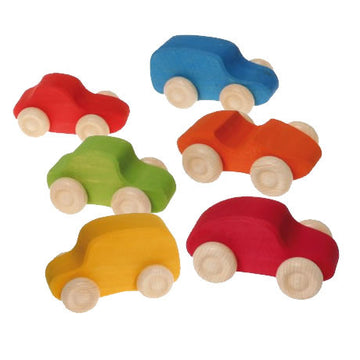 Rainbow Colored Wooden Toy Cars