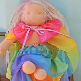 Silk Rainbow Doll Cape