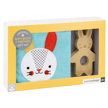 Organic Soft Bunny Book and Teether Set - Petit Collage - Oompa Toys