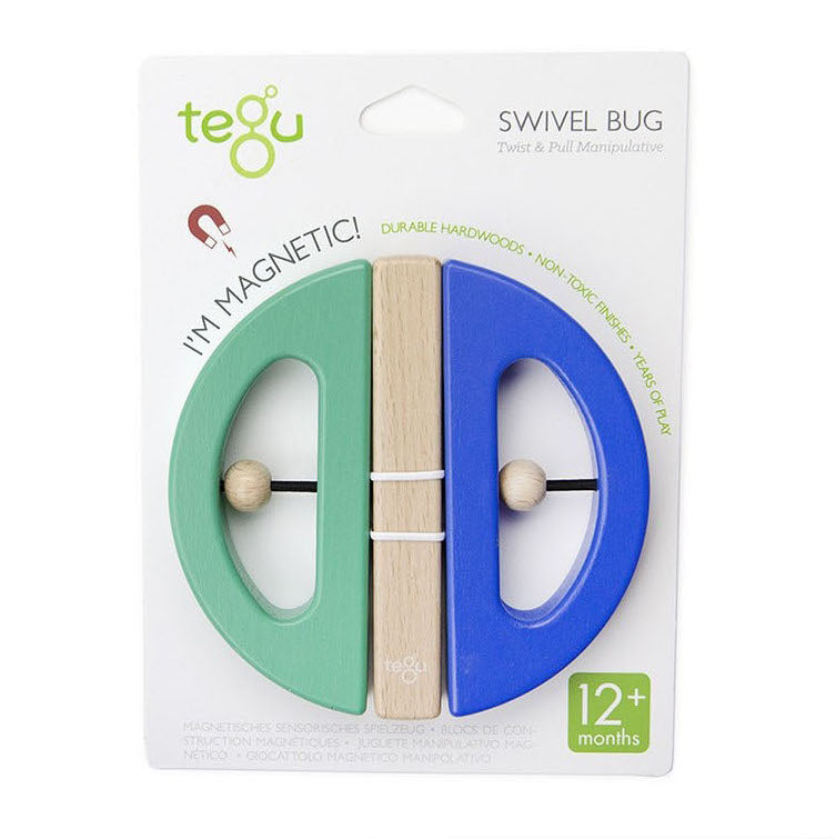 Wooden Swivel Bug - Blue and Teal - in Package - Tegu - Oompa Toys