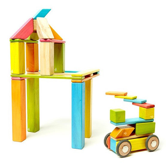 Tegu Magnetic Wooden Blocks - 42 Piece Set - Tints