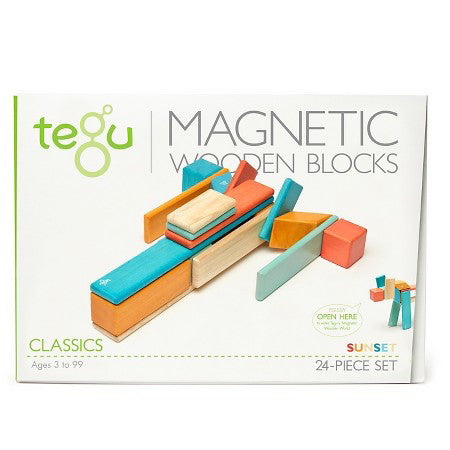 Tegu Magnetic Wooden Blocks, Sunset, 24 Piece Set