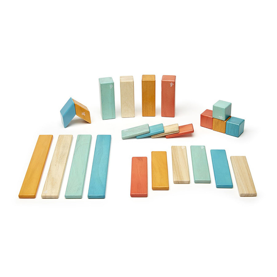 Tegu Magnetic Wooden Blocks - 24 Piece Set - Sunset
