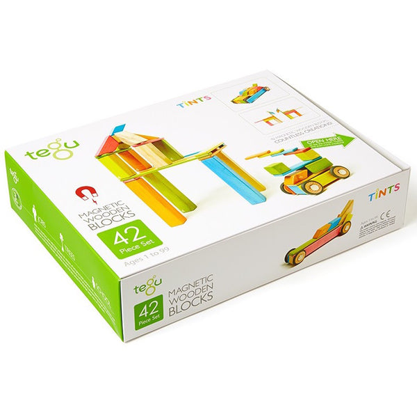 Tegu Magnetic Wooden Blocks - Tints (42 Piece Set)