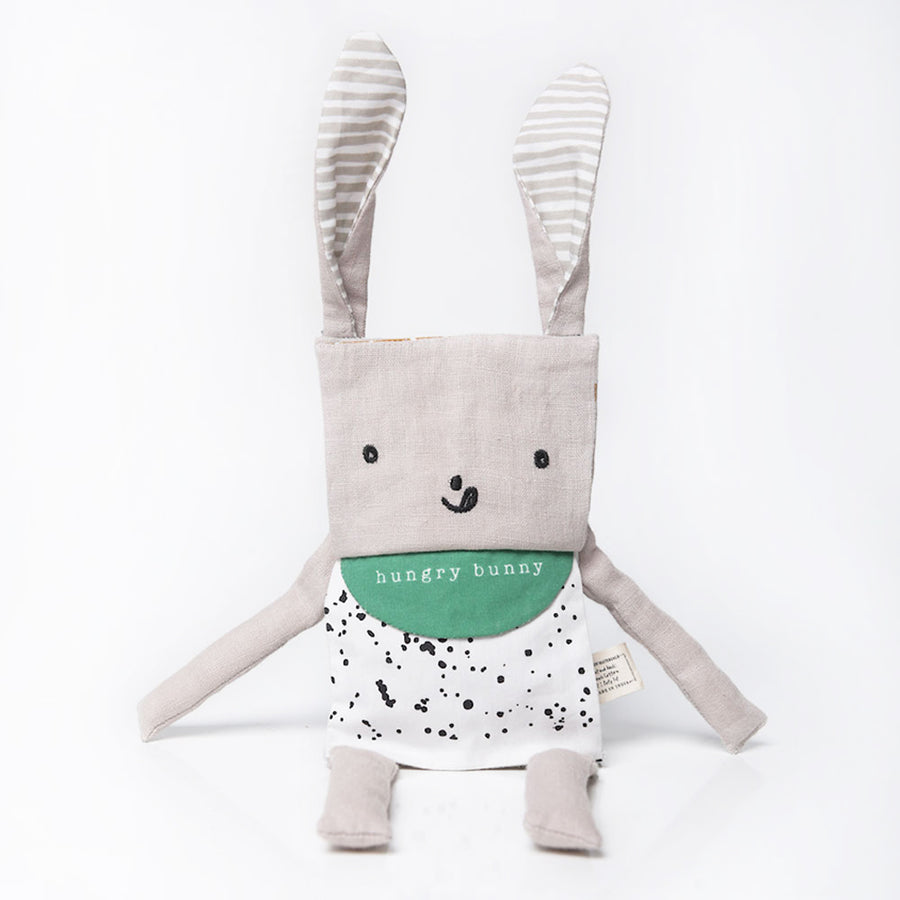 Wee Gallery - Flippy Rabbit - Hungry Bunny - Organic Plush Baby Toy -