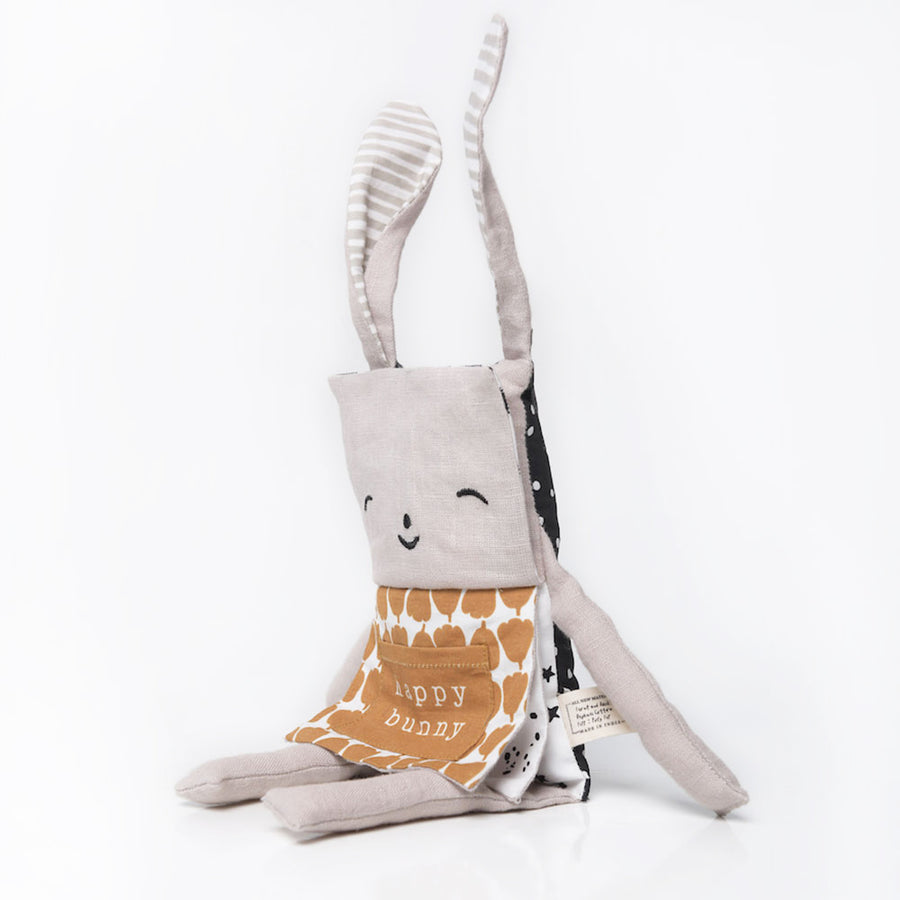Wee Gallery - Flippy Rabbit - Happy Bunny - Organic Plush Baby Toy -
