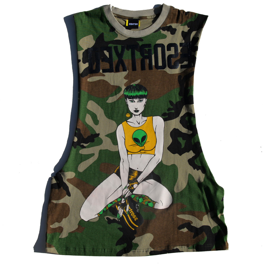 "Dextrose Bowl Cut ""Light"" Cutoff Tee - Camouflauge"
