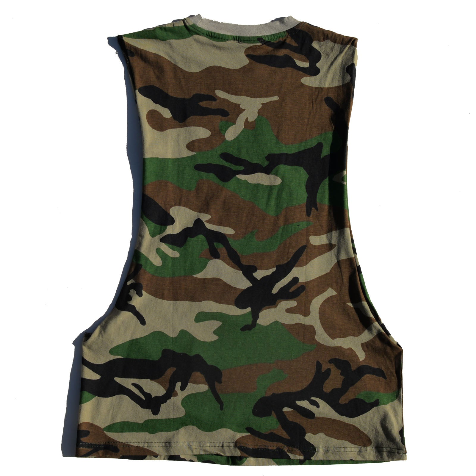 "Dextrose Bowl Cut ""Brown"" Cutoff Tee - Camouflauge"