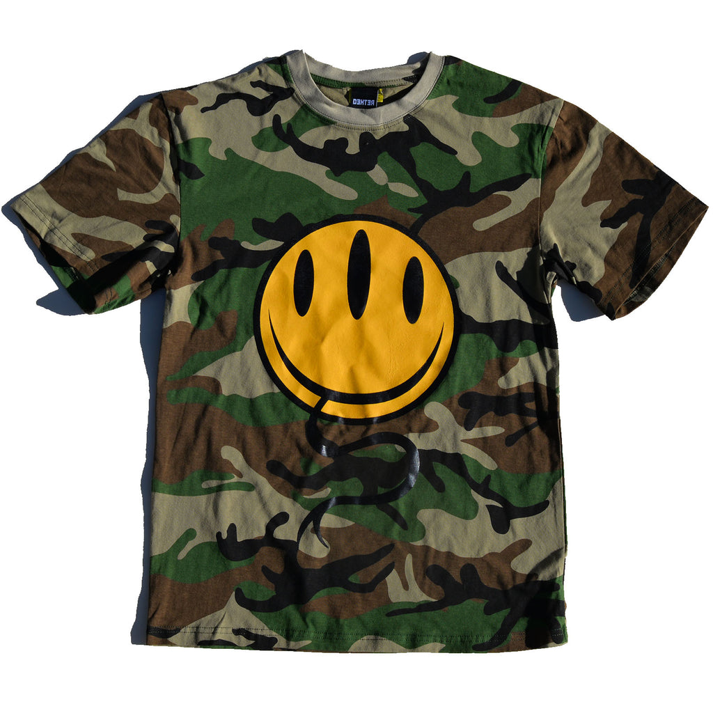 Dextrose Three Eyed Smiley Tee - Camouflauge