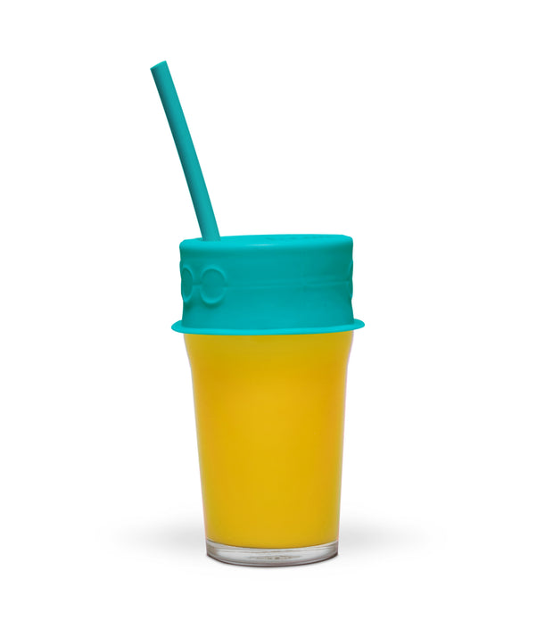 4 pack of plastic free reusable silicone lid and straw - LuumiLife