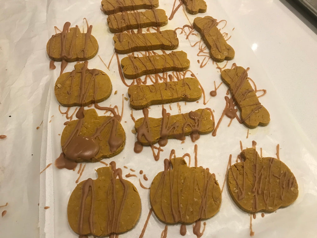 Cookies complete with peanut butter drizzle