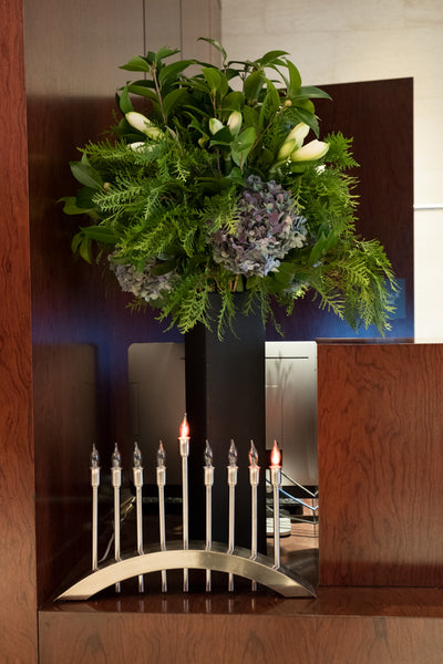 hydrangae evergreen winter hanukkah floral arrangement Élan Flowers