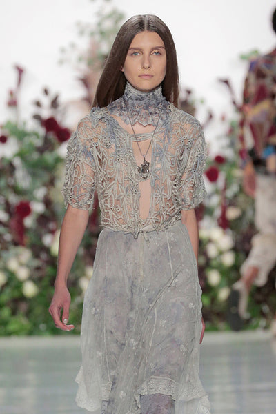 Élan Flowers NY Fashion Week runway 2018 botanical dyed lace using flowers from Élan