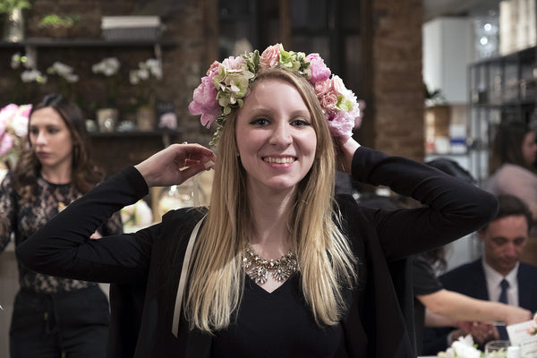 Klorane Peonies Flower Crown Workshop Elan Flowers Floral Design Event Soho