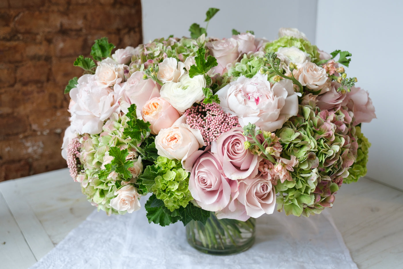 ranunculus, pink, green, event floral design, soho, tribeca, new york