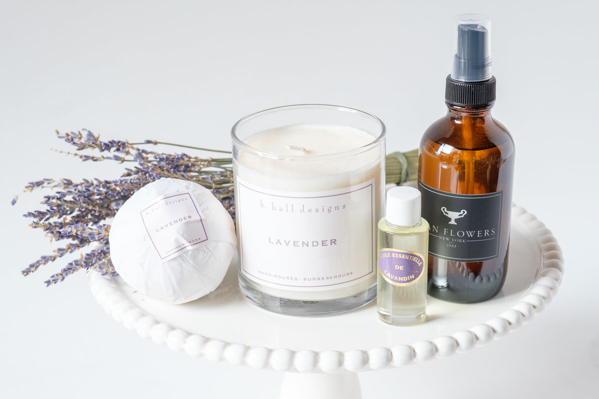Lavender Be Well Kit and Lavender Candle - Élan Flowers