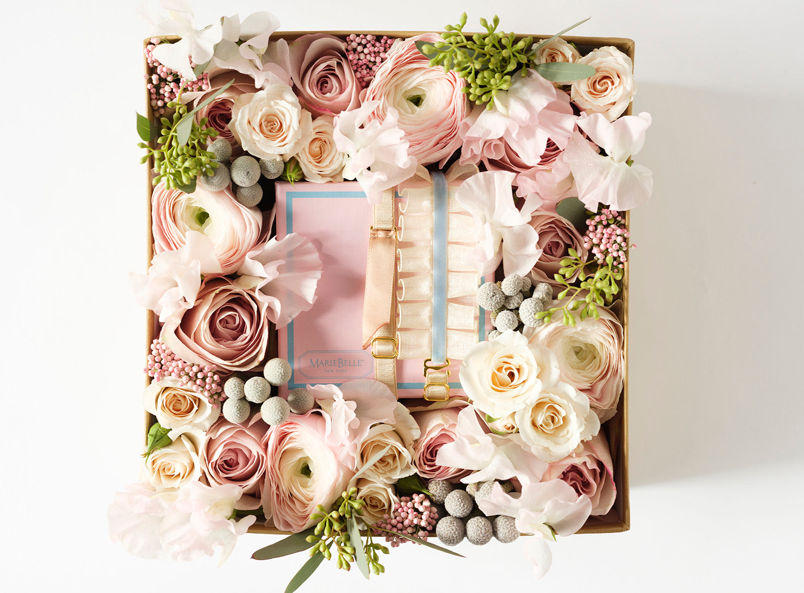 Rosé - Flower Box with Marie Belle Chocolates - Élan Flowers