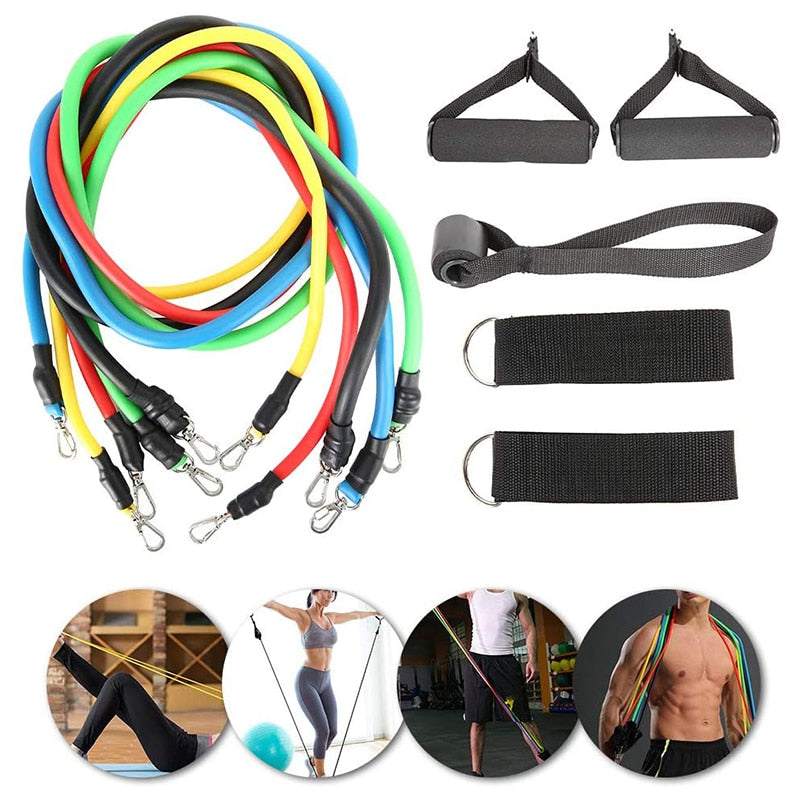 11pcs Fitness Tension Rope Resistance Bands Sets