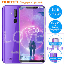 "Load image into Gallery viewer, OUKITEL C12 6.18"" Android 8.1 Mobile Phone MT6580 Quad Core 2G RAM 16G ROM Fingerprint 3G 3300mAh Smartphone Face ID"