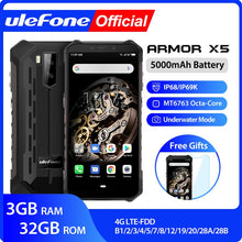 Load image into Gallery viewer, Ulefone Armor X5 MT6763 Octa core ip68 Rugged Waterproof  Smartphone Android 9.0  Cell Phone 3GB 32GB NFC  4G LTE Mobile Phone