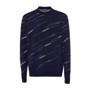 Balenciaga - Stripe Logo Jumper In Blue