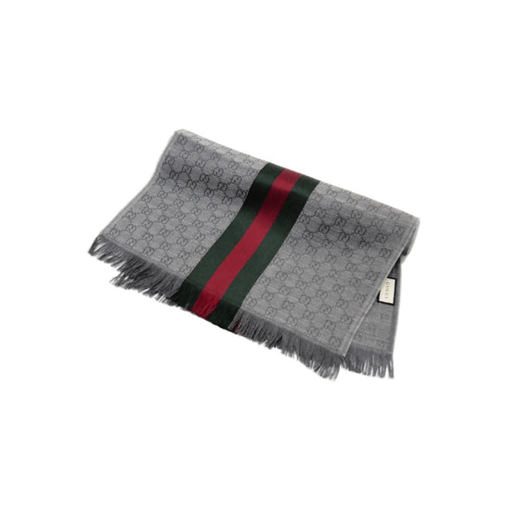 Gucci - Verbier Wool & Silk Mix Scarf In Grey