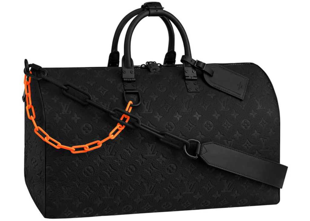 Louis Vuitton Keepall Monogram Bandouliere 50 Black in Taurillon Leather with Black Orange