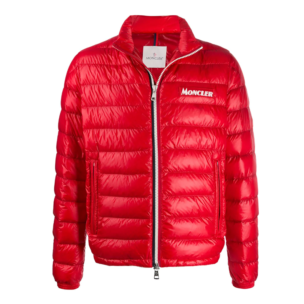 Moncler Zipped Padded Jacket In Red