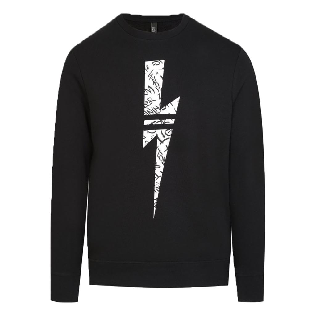 Neil Barrett - Graffiti Bolt Sweater In Black