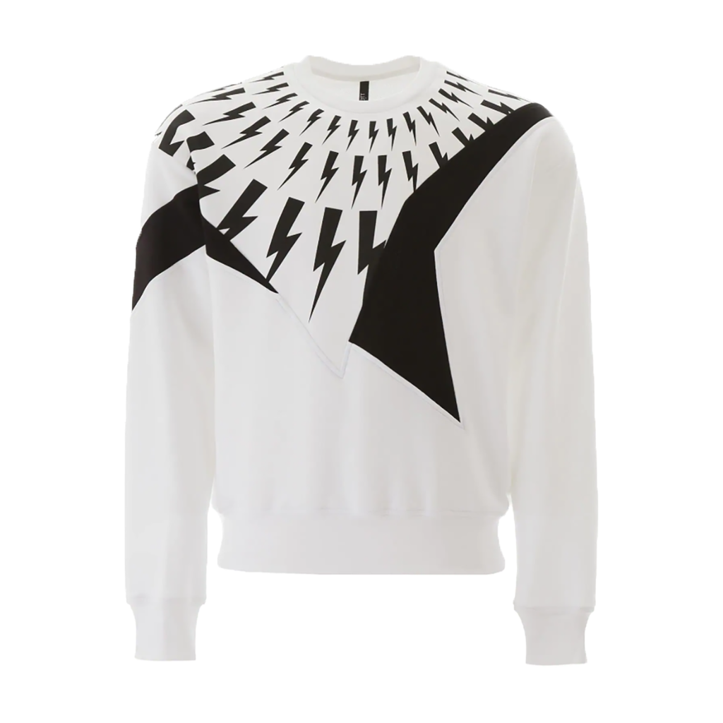 Neil Barrett - Thunder Print Sweatshirt In White