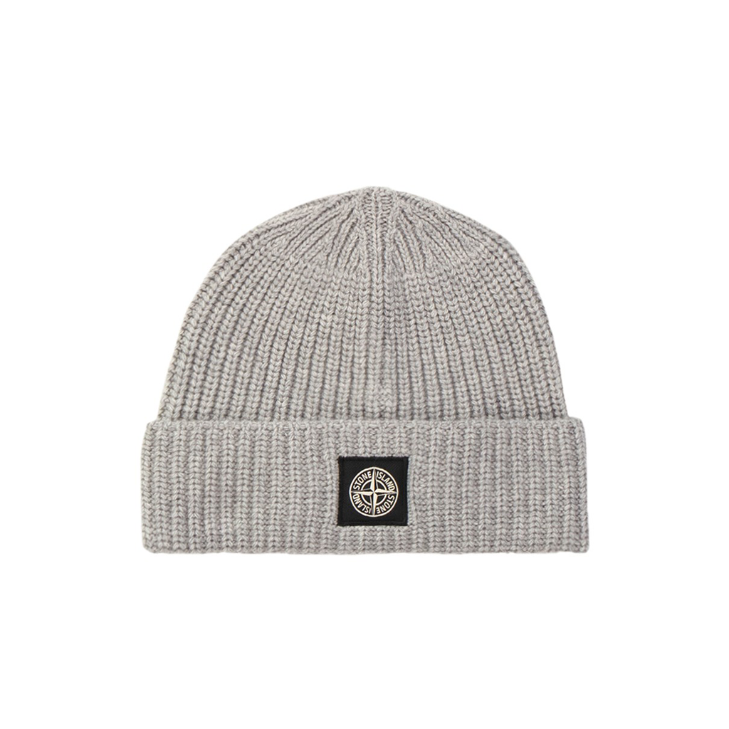 Stone Island Ribbed Wool Beanie In Grey