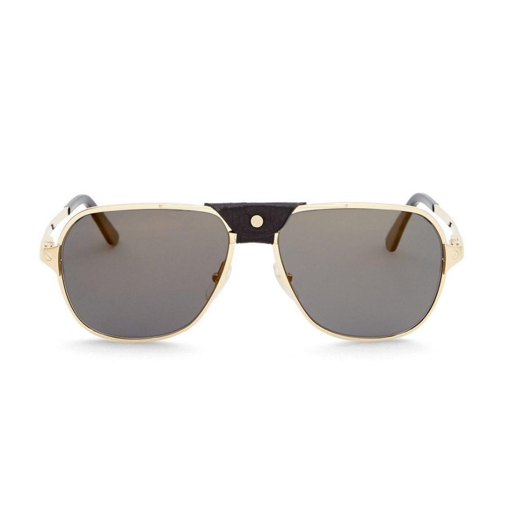 Cartier - White Gold Leather Sunglasses