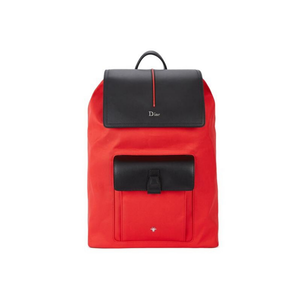 DIOR Motion Leather-trimmed Canvas Backpack In Red