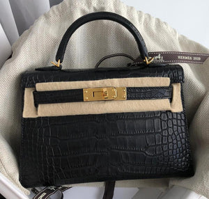 Hermes - Kelly 20cm Mini II Black Alligator Matt with Gold Hardware