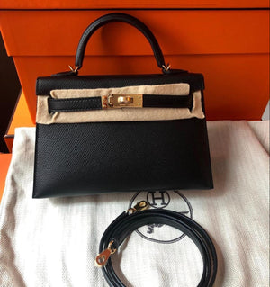 Hermes - Kelly 20cm Mini II black Epsom Leather with Gold Hardware
