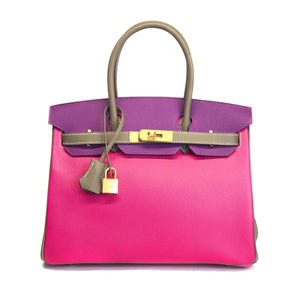 Hermès - Birkin 30cm Special Order Tri Color Anemone/Etoupe/Rose Tyrien  Epsom leather with Brushed gold hardware