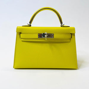Hermès Mini Kelly Ii 20cm Sellier Lime Epsom Leatherwith Palladium Hardware