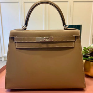 HERMÈS KELLY 28CM ETOUPE |  Tadelakt Leather with Palladium Hardware